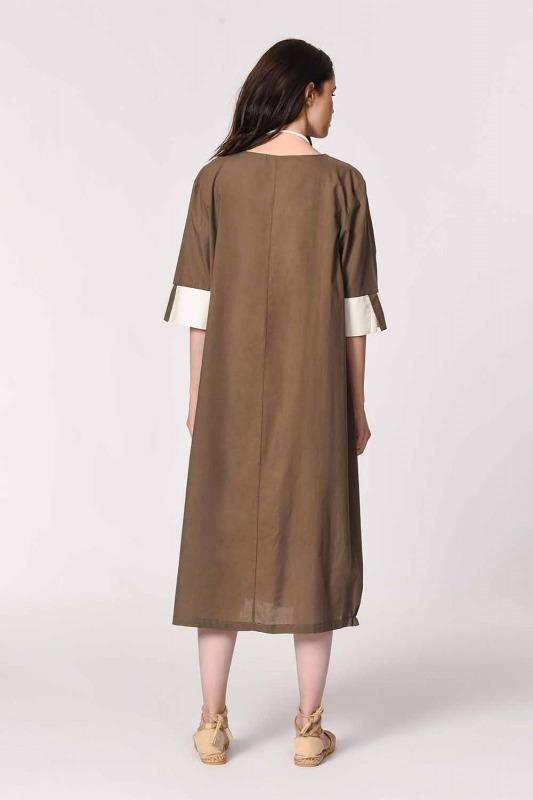 Yan Cep Detaylı Salaş Elbise (Koyu Vizon)