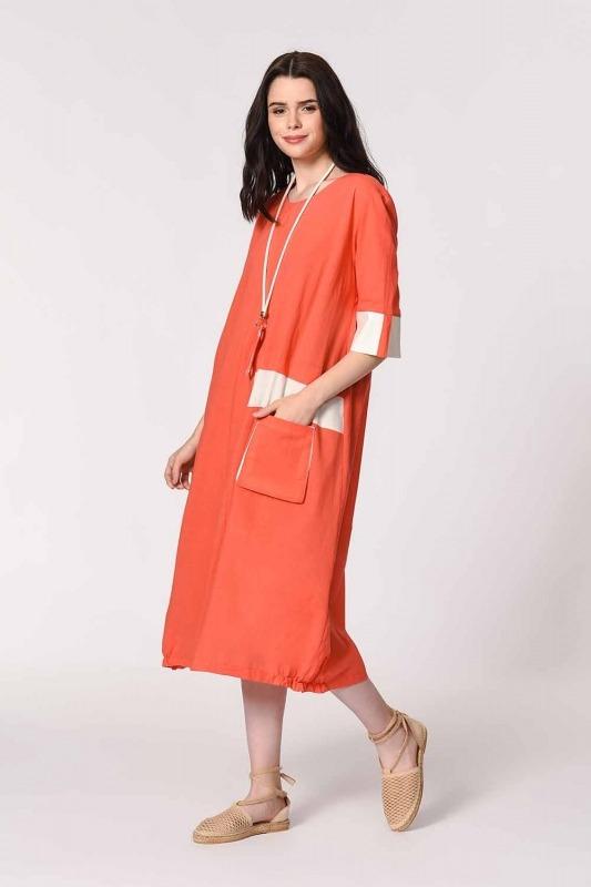 Side Pocket Bohemian Dress (Coral)