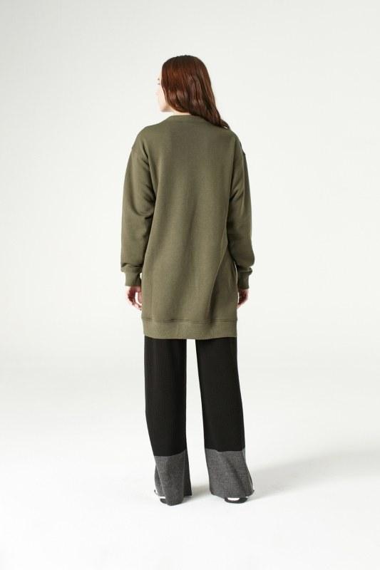 Yandan Fermuarlı Sweatshirt (Haki)
