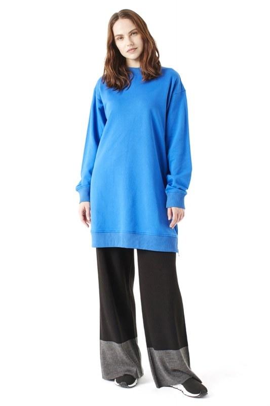 Sideward Zipped Sweatshirt (Saxe)