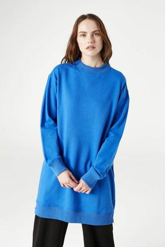 Yandan Fermuarlı Sweatshirt (Saks)