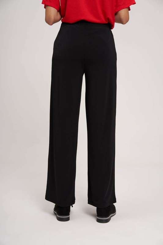 Pleated Fabric Trousers (Black)