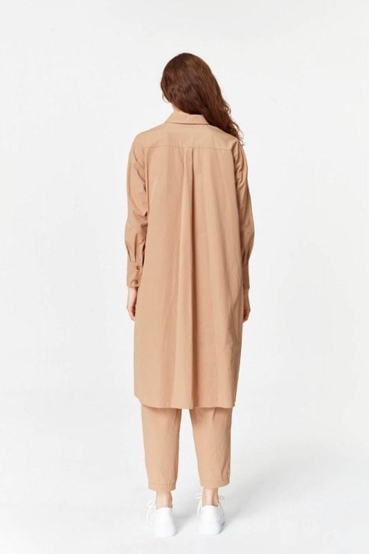 Yanı Yırtmaçlı Cep Detaylı Tunik (Camel)