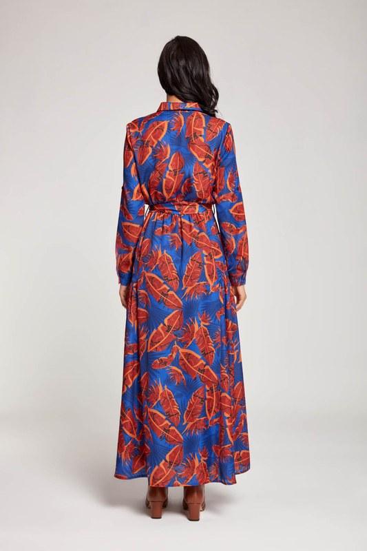 Yaprak Desenli Cepli Elbise (Saks)