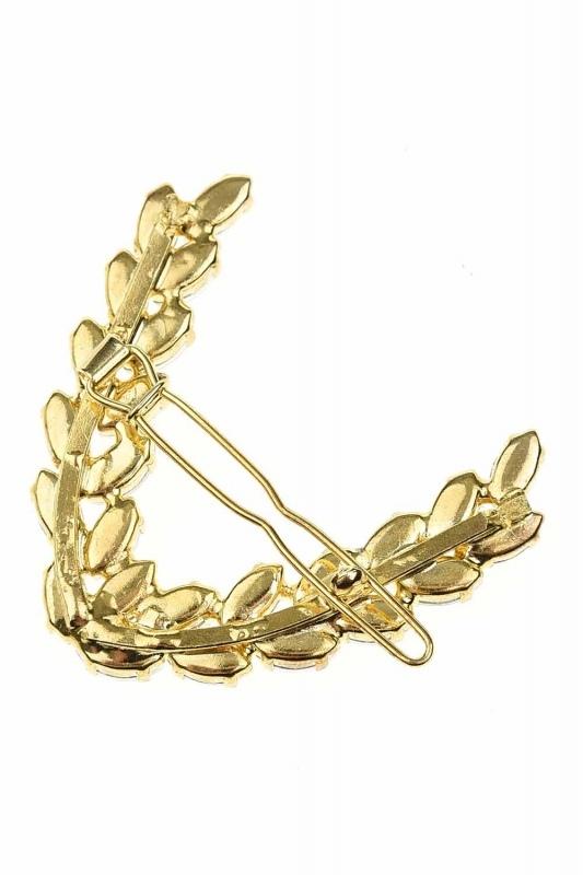 Yaprak Desenli Taşlı Toka (Gold)