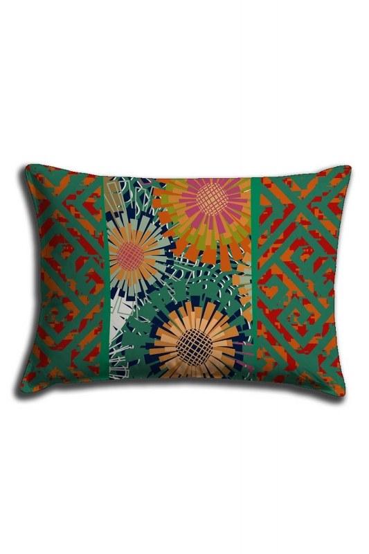 غطاء وسادة الدانتيل المطبوعة الرقمية ، نمط أخضر (30 × 50)