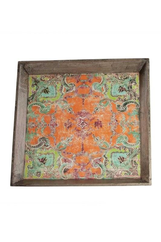 Green Motive Wooden Tray
