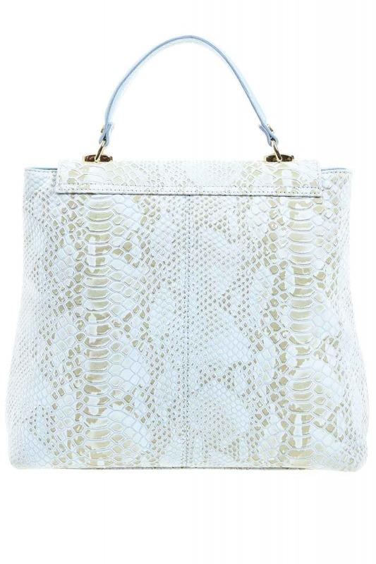 Snake Patterned Leather Clutch Bag (Blue)