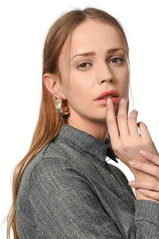 Snake Patterned Ring Earrings (Mink)