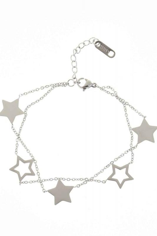 Yıldızlı Çelik Bileklik (Silver)