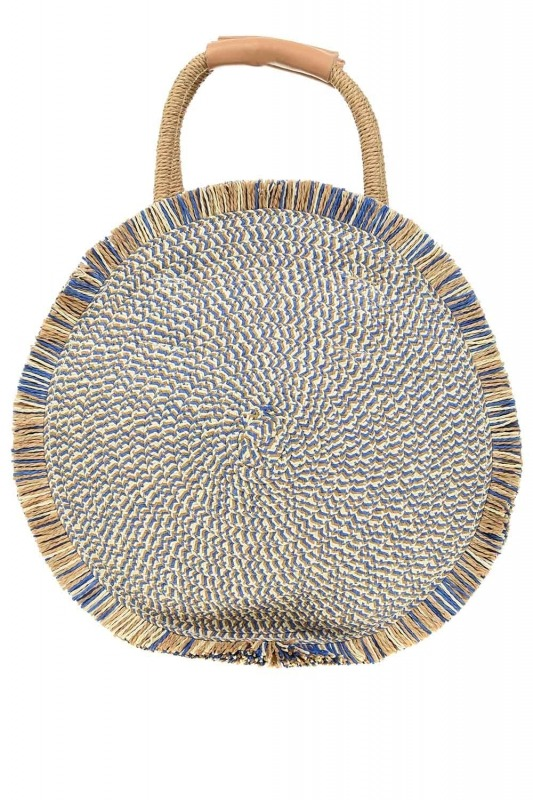Yuvarlak Hasır El Çantası (Mavi)