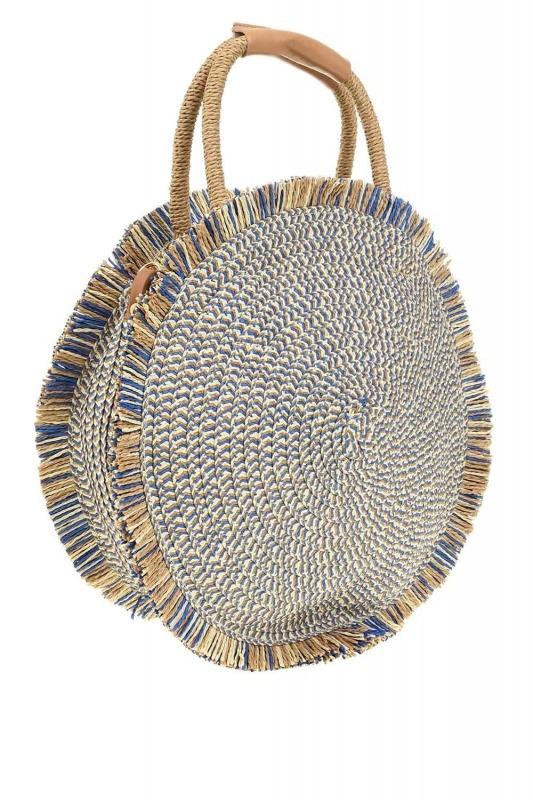 Round Form Straw Handbag (Blue)