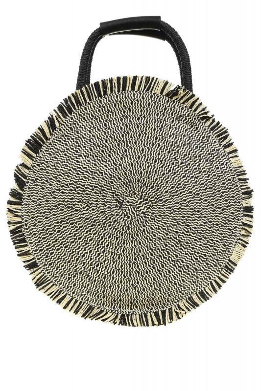 Round Form Straw Handbag (Black)