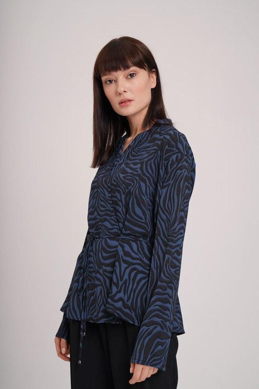 Zebra Desenli Bluz (Indigo)