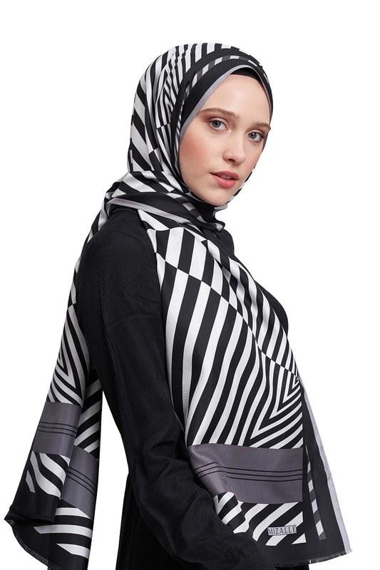 Zebra Patterned Shawl (Grey)