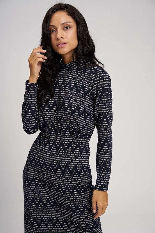 Zigzag Patterned Knitted Dress (Navy Blue)