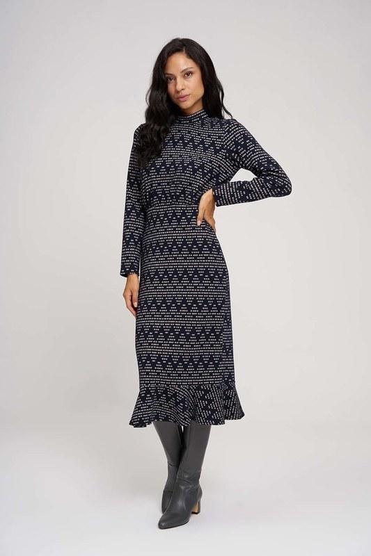 فستان ذات تصميم مُتعرج (كحلي)