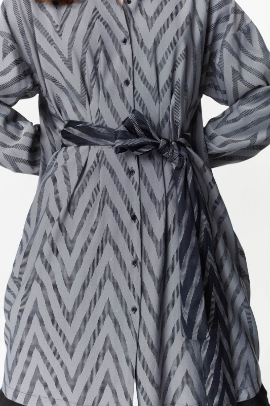 Zigzag Patterned Tunic (Grey)