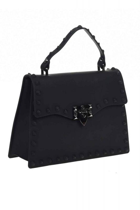حقيبة يد لينة مع اللكمات (أسود)