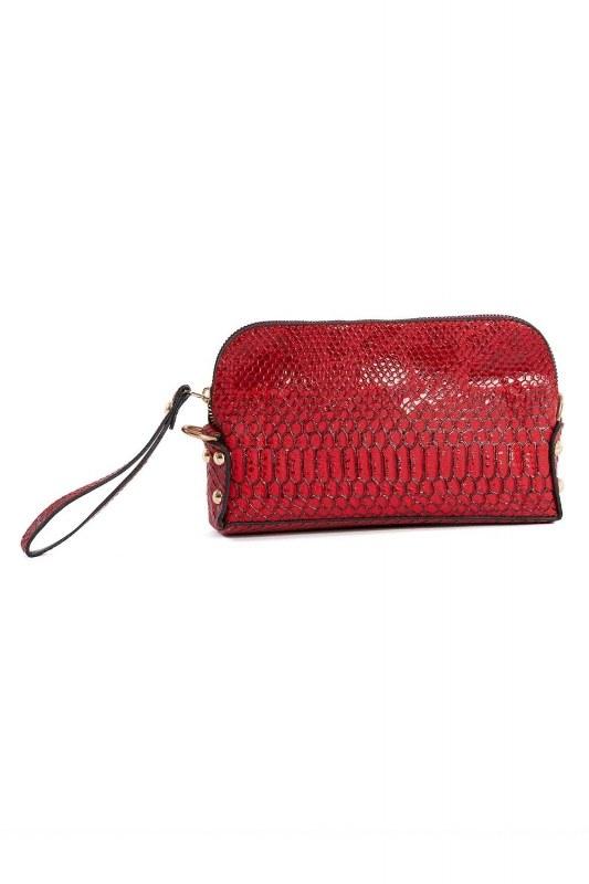 حقيبة كتف نسائية صغيرة مع حزام سلسلة (بورجوندي)