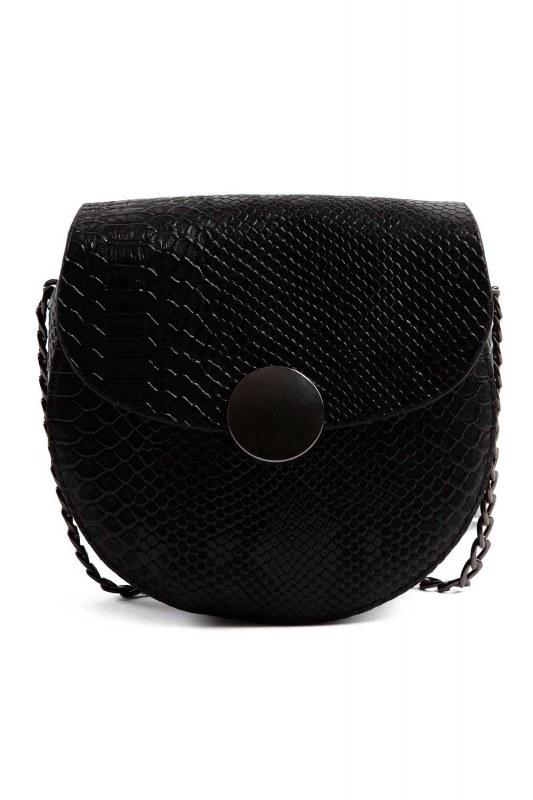 سلسلة منقوشة ، حقيبة كتف نسائية (أسود)