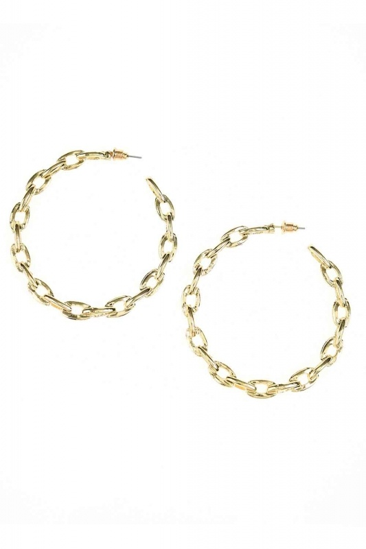 Chain Detailed Ring Earrings (Big) (St)