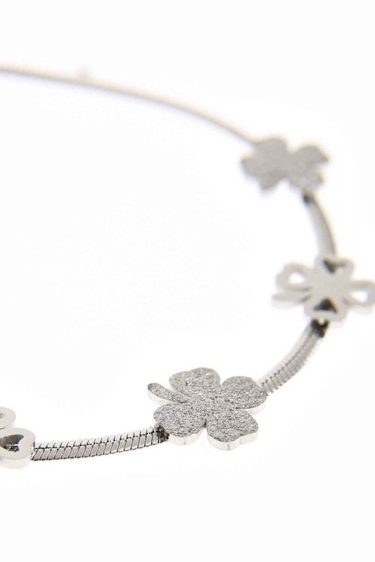 Clover Detailed Steel Bracelet (Silver)