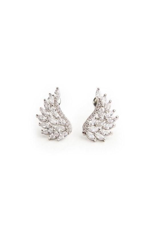 Zircon Angel Winged Earrings (Grey)