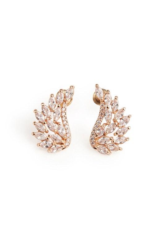 Zircon Angel Winged Earrings (Gold)